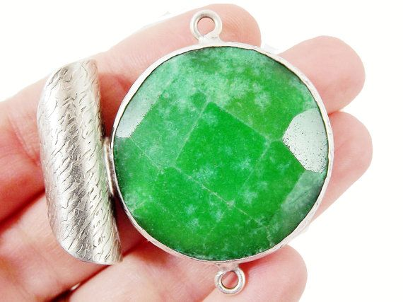 36mm Green Faceted Jade Stone Pendant Matte Silver Plated 1pc