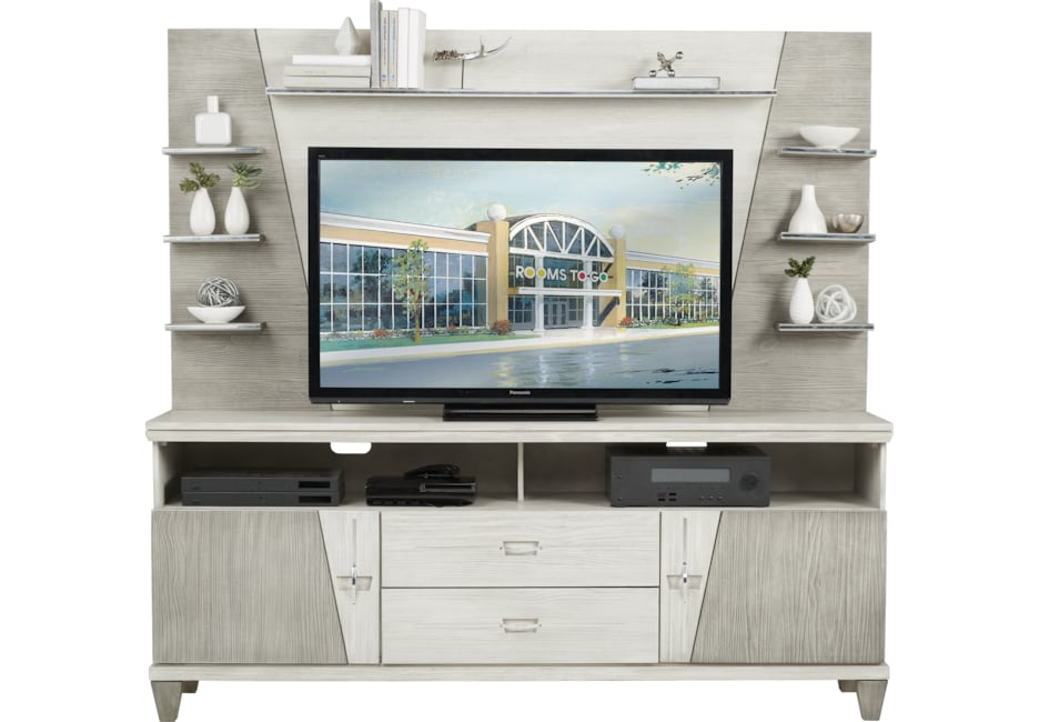 Argento Gray 2 Pc Wall Unit Wall Unit Rooms To Go Entertainment Wall Units