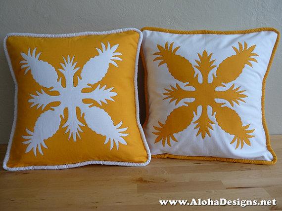 Hawaiian Quilt Pillow Covers golden yellow by AlohaDesigns, $65.00 ... : hawaiian quilt pillow covers - Adamdwight.com