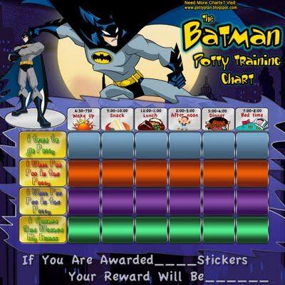 Batman Potty Training Charts | Gideon | Potty training girls