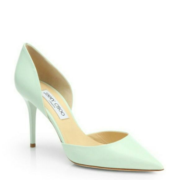 NWT Jimmy Choo Addison Key Lime d'Orsay heels 37.5 Brand new with bix,dust bag and a copy of saks receipt upon request..heels 3.25 inch,size 37.5 US size  7.5 ,color is mint wonderful for colorblocking pastels or simply with jeans!!fantastic and extremely comfortable kid leather Jimmy Choo Shoes Heels