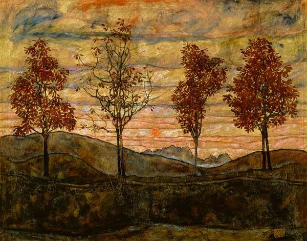 Titulo de la imágen Egon Schiele - Cuatro Árboles