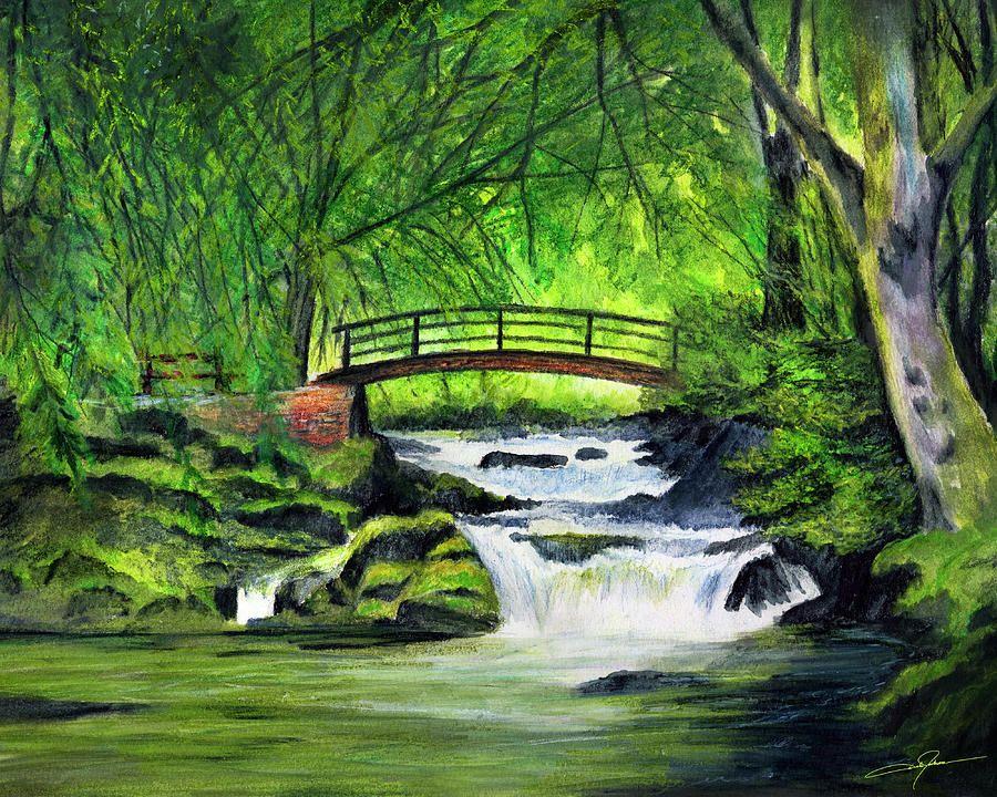 Bridge And Waterfall By Dale Jackson Waterfall Drawing Waterfall Water Drawing