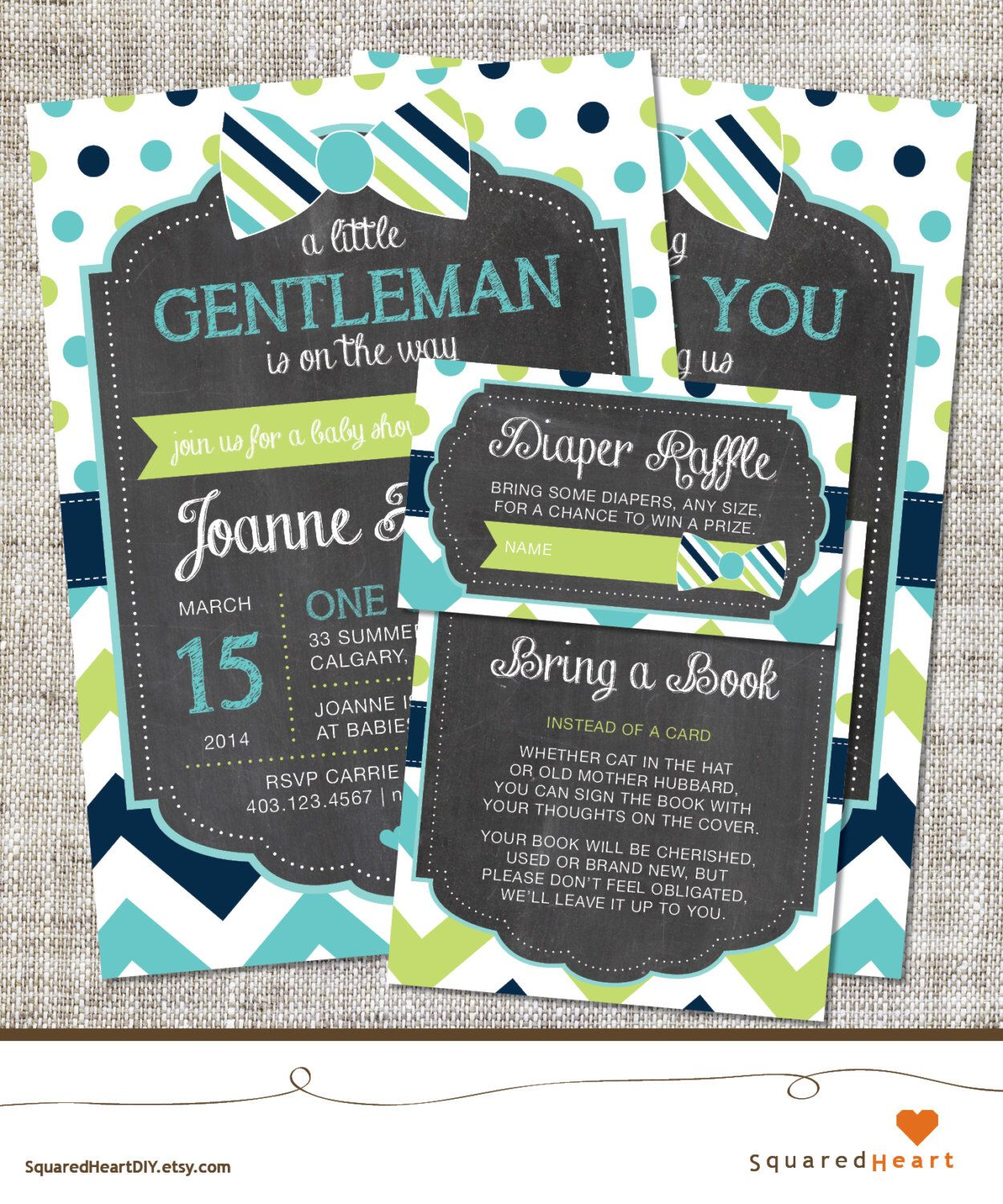 Bow Tie Baby Shower Invitation, Bow Tie Invitation, Bow Tie, Teal ...