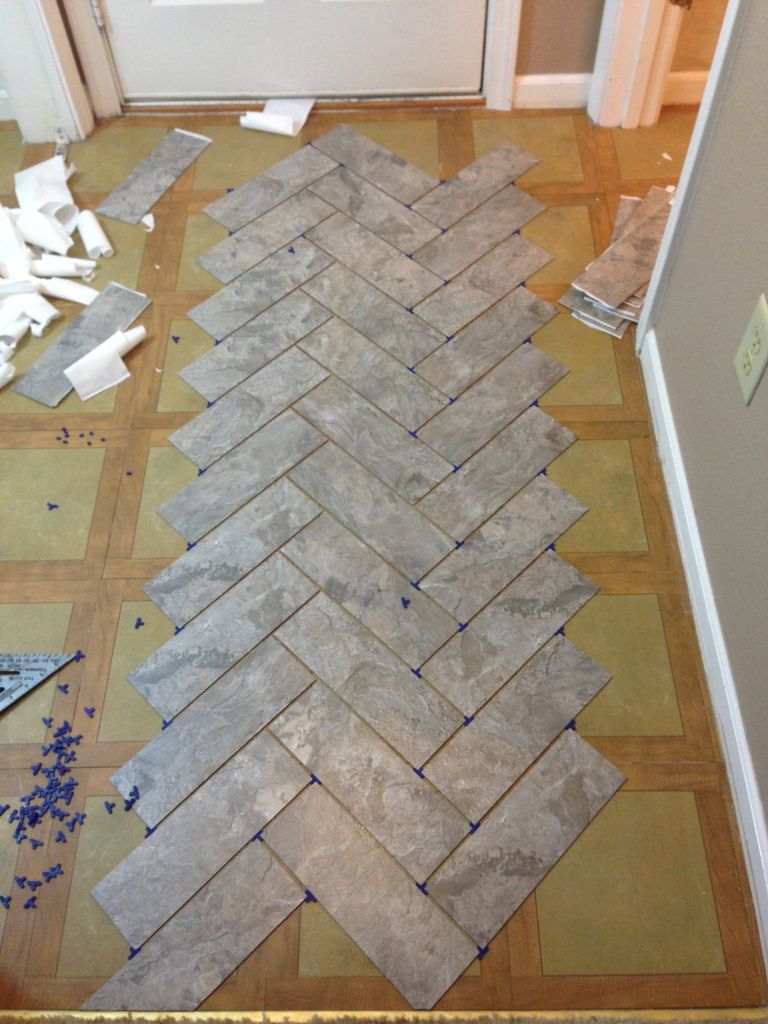 How to herringbone diy herringbone vinyl tile pattern via grace diy herringbone vinyl tile pattern via grace gumption peel and stick groutable vinyl tile for guest bath dailygadgetfo Choice Image