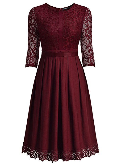 Miusol Damen Abendkleid Elegant Cocktailkleid Vintag 3/4 ...