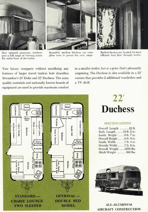 1963 Streamline Trailer Brochure Vintage Camper Travel Trailer Floor Plans Vintage Campers Trailers