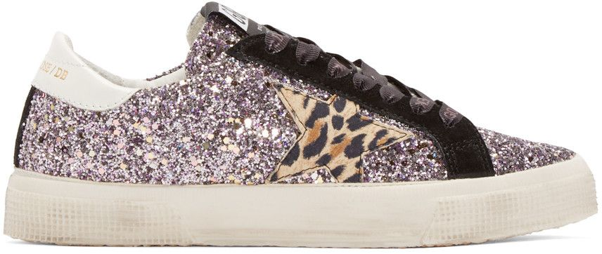 00d9834a2f38 GOLDEN GOOSE Purple Glitter May Sneakers. #goldengoose #shoes #sneakers  Canvas Sneakers,
