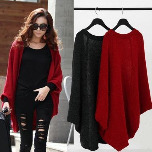 UK Women's Spring Batwing Top Knit Cape Cardigan Long Sleeve Coat ...