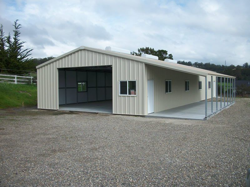Metal buildings with living quarters light commercial for Metal building garage with living quarters