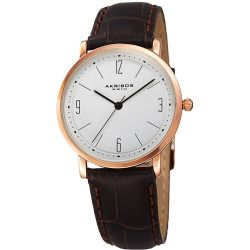 Akribos XXIV Watches Women's Brown Genuine Leather White Dial