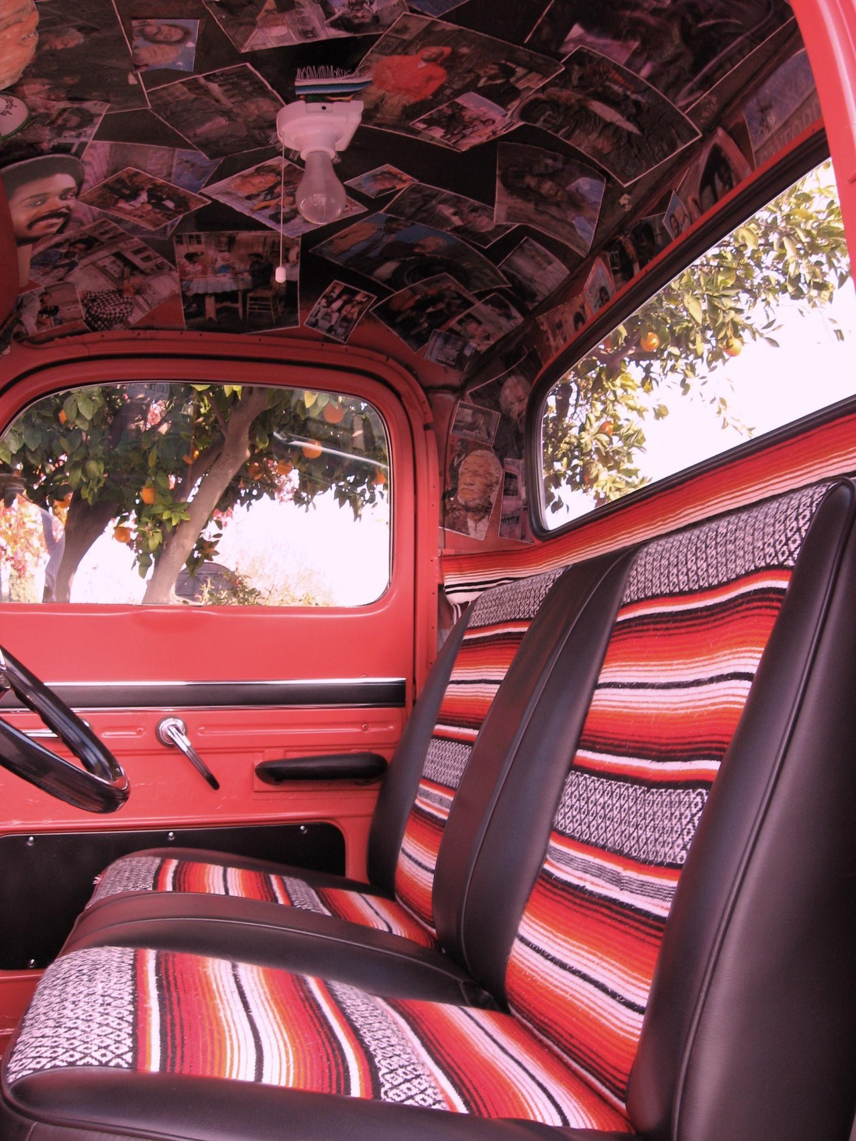 vintage truck  serape interior    truck    mod podge  ceiling  lol