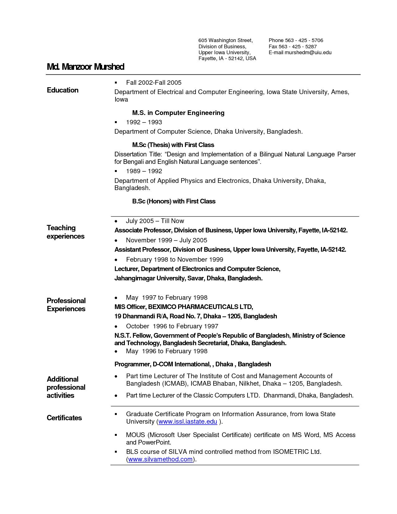 lecturer resume sample pdf