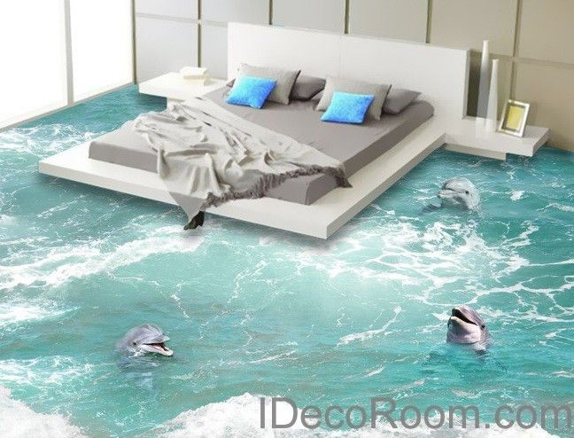 3 Dophins Play In The Water Sea Ocean 00009 Floor Decals 3D Wallpaper Wall Mural Stickers