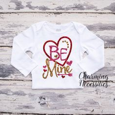 Be Mine Baby Toddler Girl Valentines Day Glitter Top Red Gold