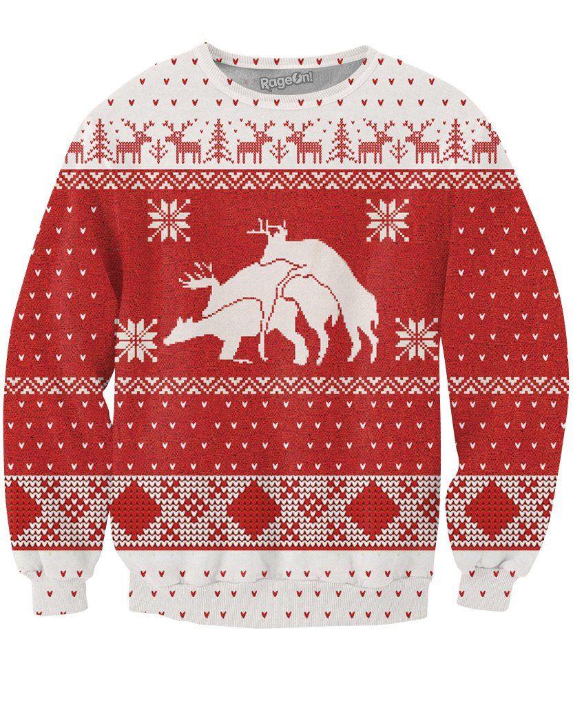 Perez Hilton Merry Bucking Christmas Crewneck Sweatshirt Sweatshirts Women Crazy Christmas Sweaters Christmas Sweaters [ 1024 x 832 Pixel ]