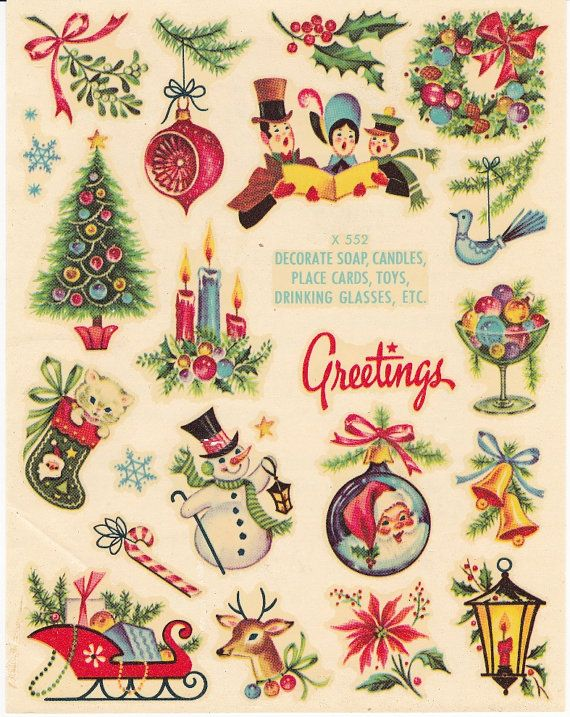 christmas stickers vintage