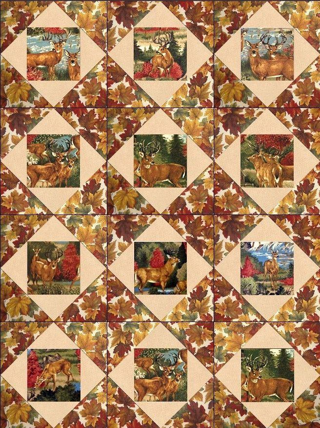 Deer Run Rustic Pre-Cut Quilt Block Kit from Quilt Kit Shop ... : patchwork quilt kits pre cut - Adamdwight.com