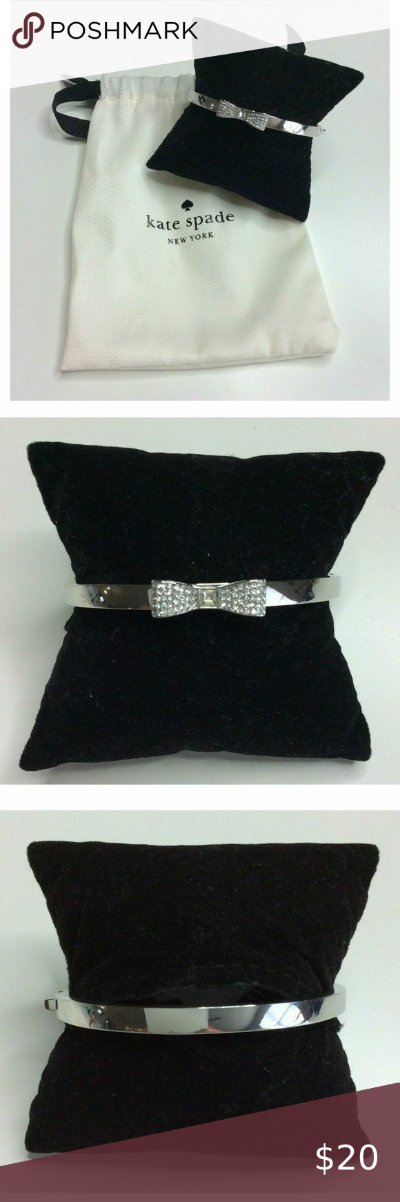Kate Spade Silver Bangle Bracelet Pave Bow Hinged