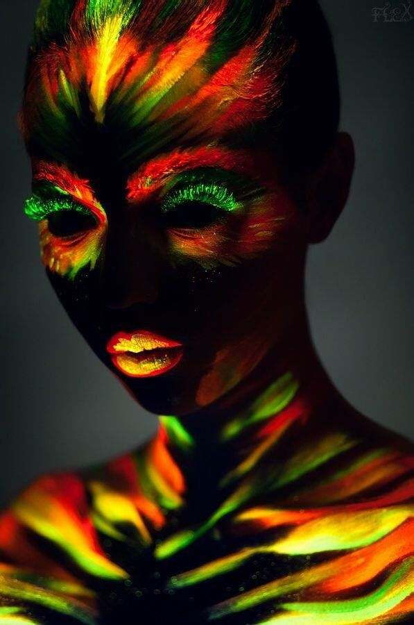 Girl covered with black paint \ multi color neon paint art Art