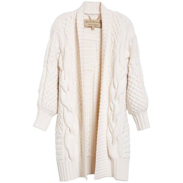 Womens burberry camrosbrook wool cashmere open cardigan 1395 ❤ liked on polyvore featuring