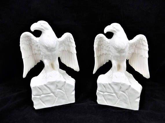 White Ceramic Eagles M.B. Daniels Made in Japan Majestic