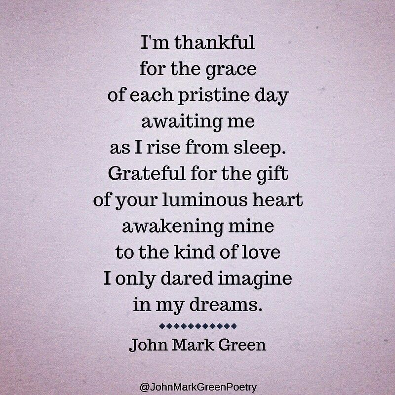a poem of thankfulness and gratitude by john mark green