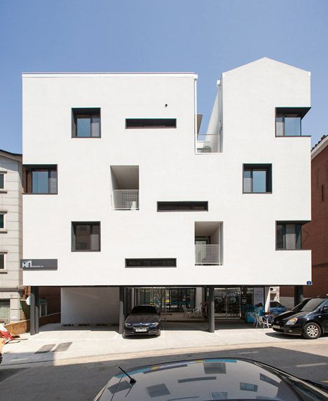 Seoul apartment block featuring tunnel-like balconies and gabled ...