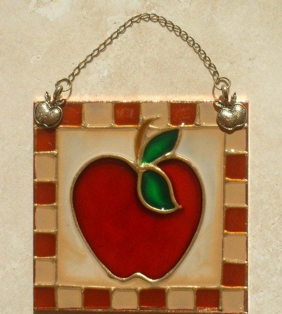 Country Apple Stained Glass Ornament, Wall Hanging And Suncatcher. Handmade Apple  Kitchen Artwork.