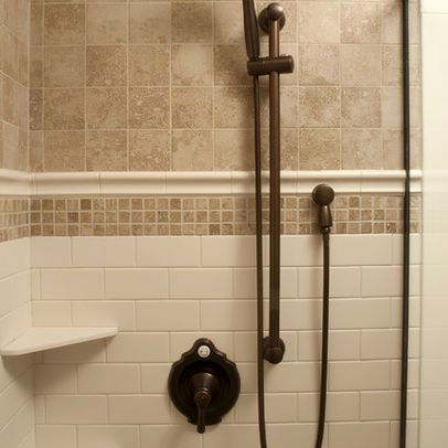White Subway With Beige Traditional Tile Shower For