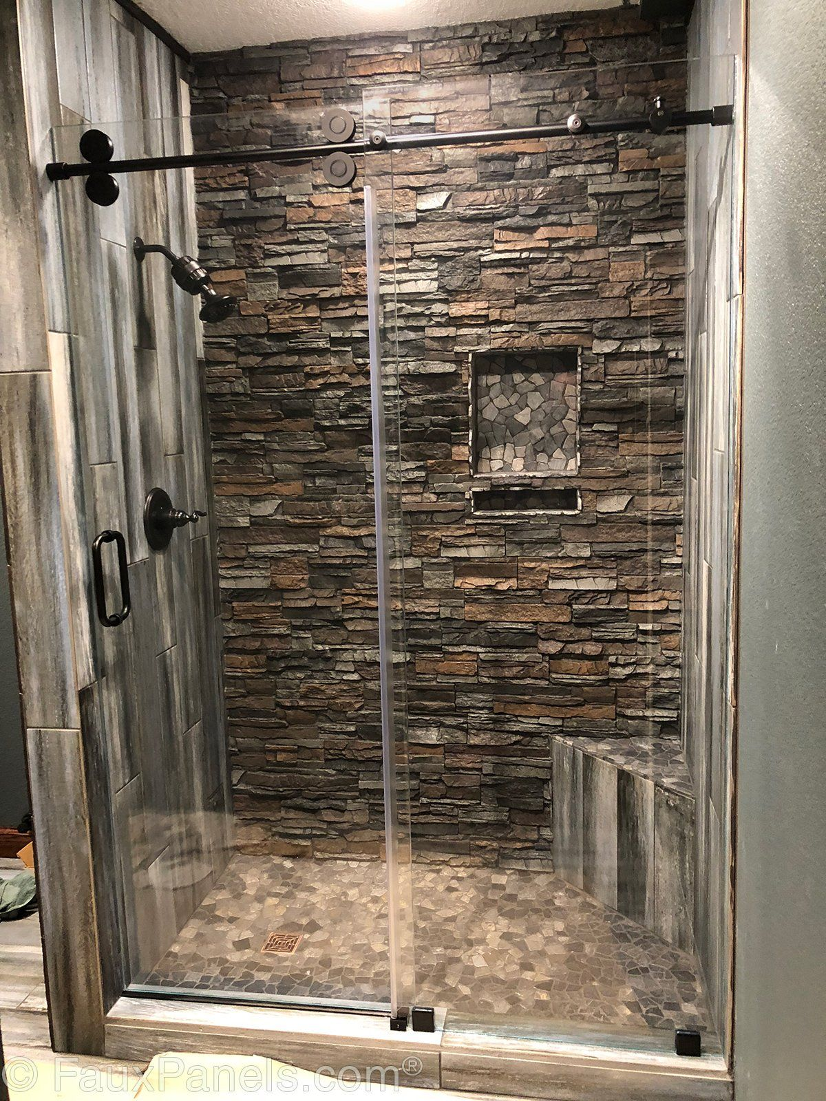 stacked stone bathroom ideas  google search in 2020