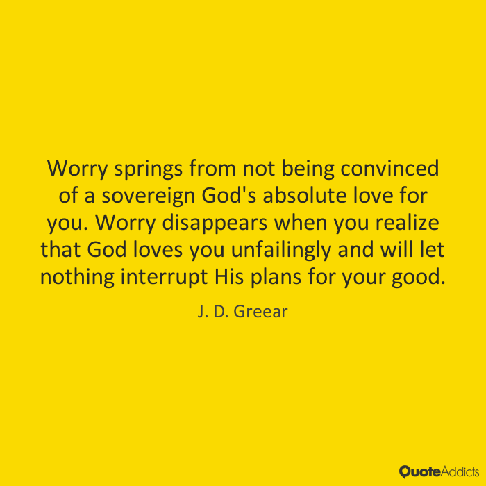 Worry springs from not being convinced of a sovereign God's absolute love for you. Worry disappears when you realize that God loves you unfailingly and will let nothing interrupt His plans for your good. - J. D. Greear #4