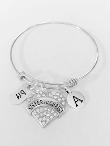 Initial Sister In Christ Bff Best Friend Gift Adjule Bangle Charm Bracelet