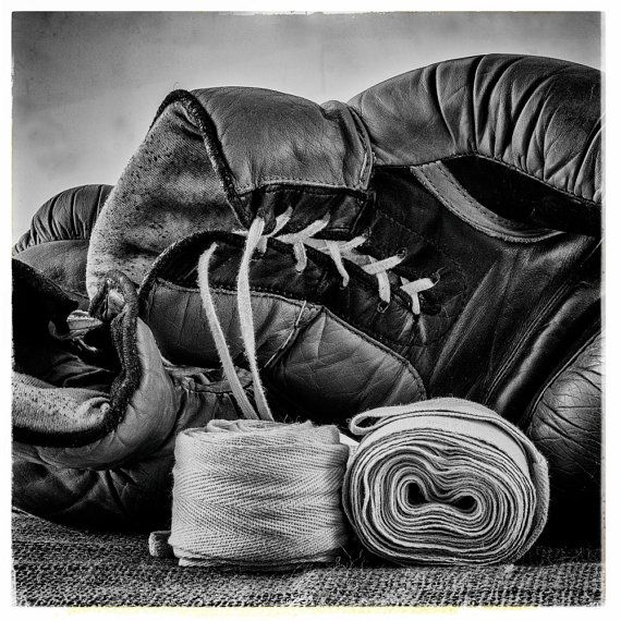 Set of 3 black and white boxing photos printable wall art print poster