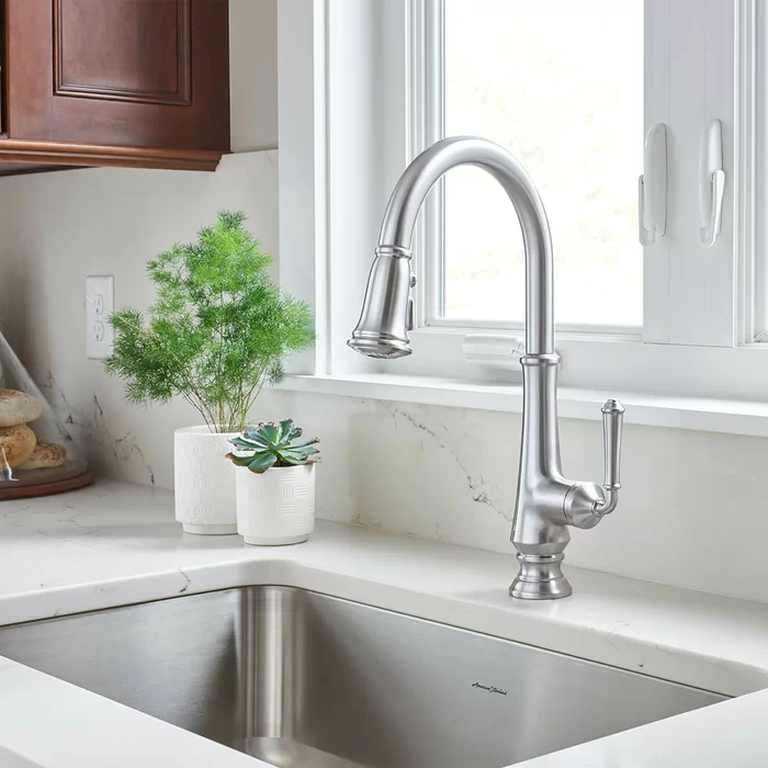 Delancey Pull Down Single Handle Kitchen Faucet In 2020 Kitchen Faucet Reviews Faucet Traditional Design