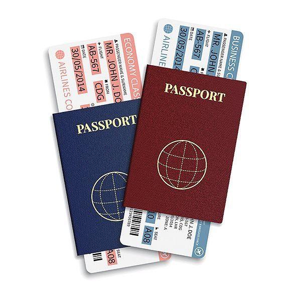 Passports with airplane tickets. Ticket Design Templates. $5.00