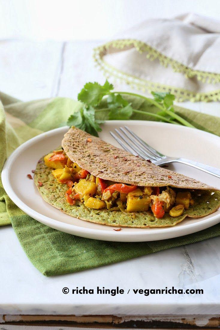 Spinach Quinoa Chickpea Omelette. Soyfree Glutenfree Vegan Recipe | Vegan Richa