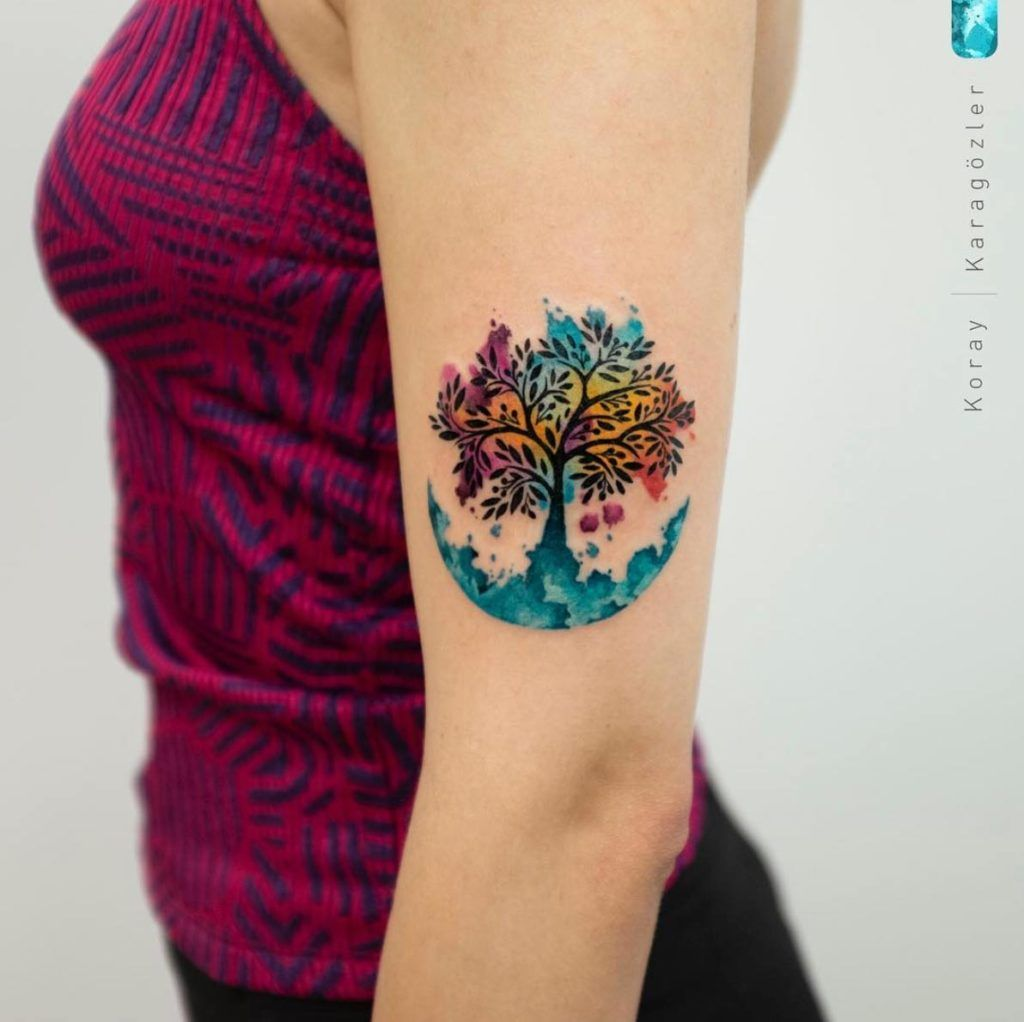 A Watercolor Tree Of Life By Koray Karagozler Life Tattoos Tree Of Life Tattoo Tattoos