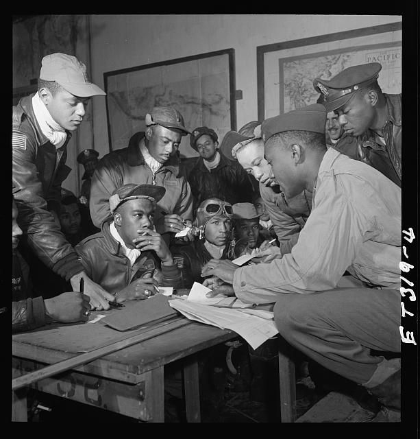 in amidst a segregated military the first african american   the first african american fighter pilots were commissioned to aid the defense of bombers in wwii see the exceptional story of the tuskegee airman