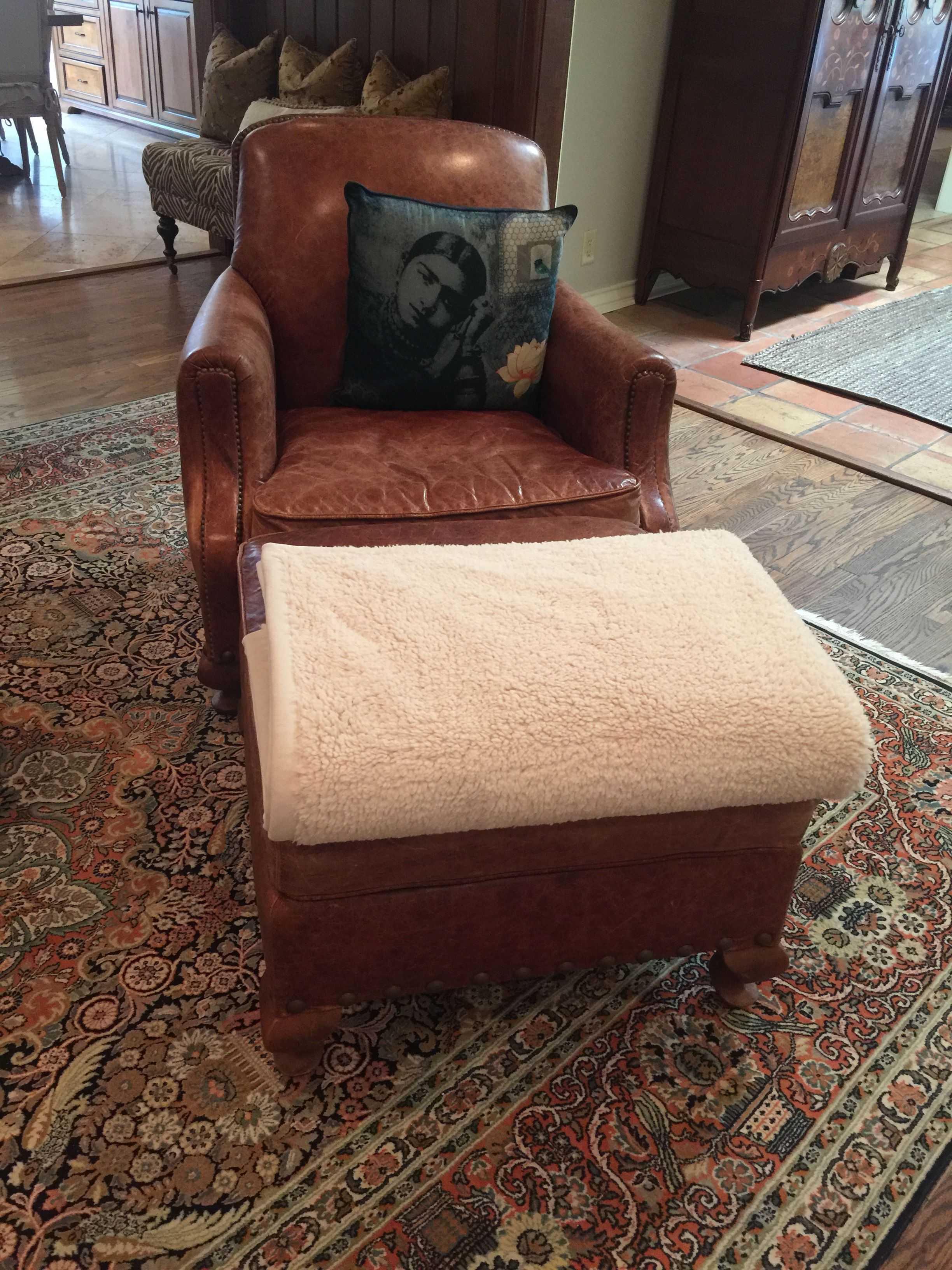 Living Room Leather Chair and ottoman. Henredon purchased