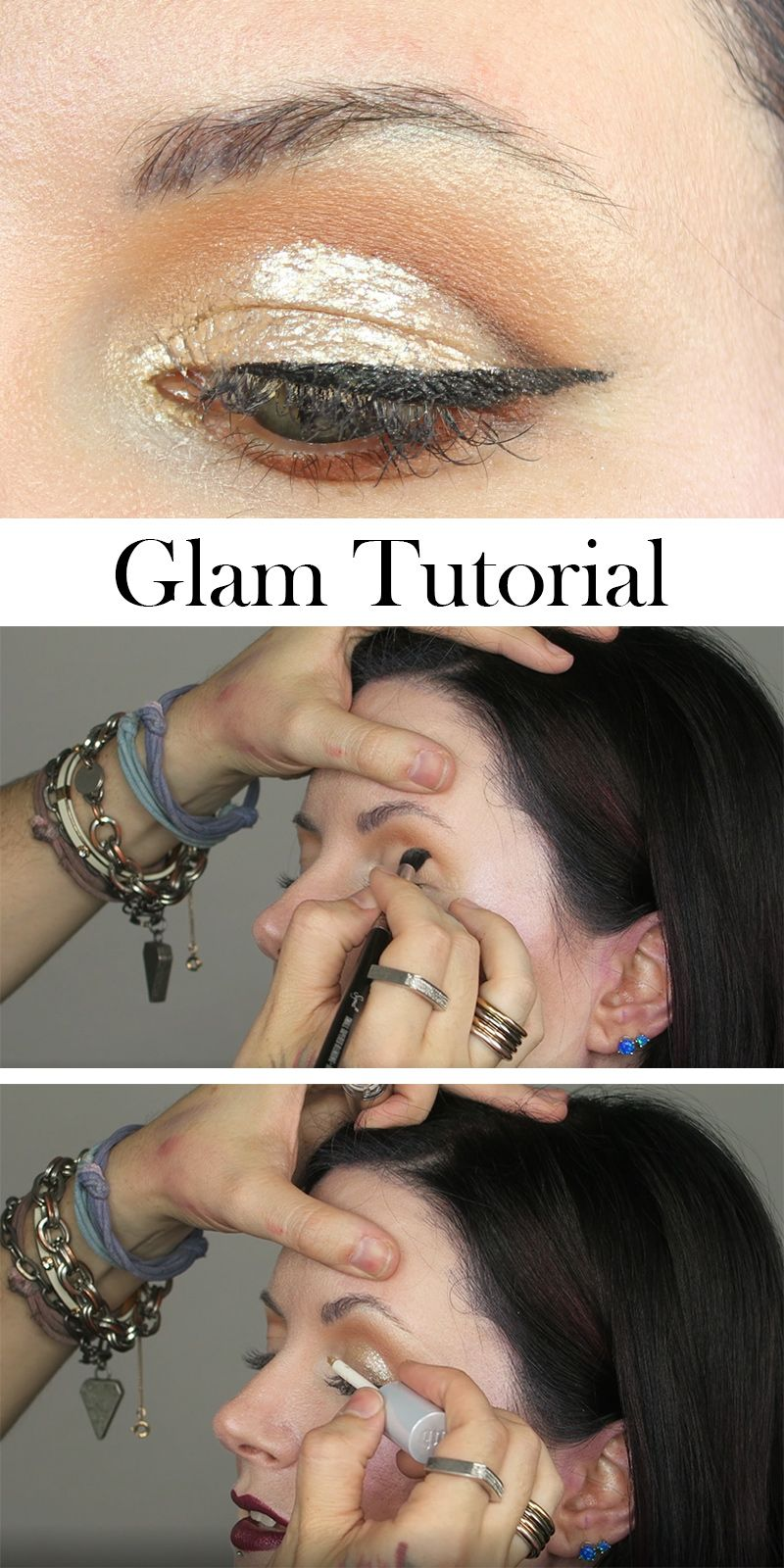 Glam glitter cut crease winged liner tutorial hooded eyes winged glam glitter cut crease winged liner tutorial hooded eye makeuphooded eyesmakeup baditri Image collections