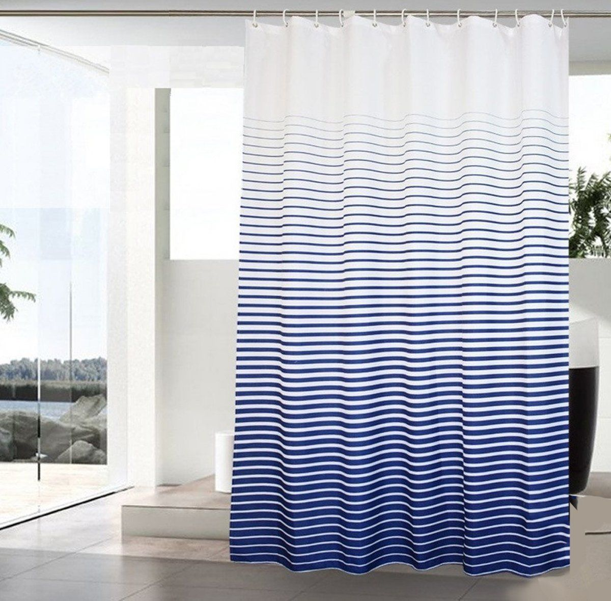 Amazon Com Deerreed Extra Long Nautical Ombre Stripes Shower