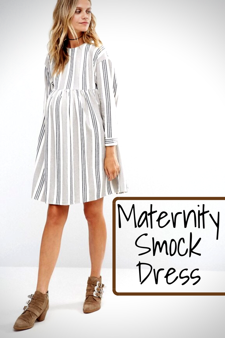 b76b83e1a6a Maternity smock dress in natural stripe!  asos  pregnancydress  maternity   bump  fashion  style  stripe  longsleeve  casual  affiliate