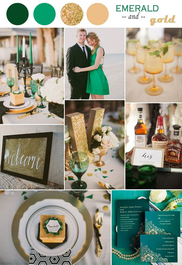 2014 trending vintage emerald and gold champagne wedding