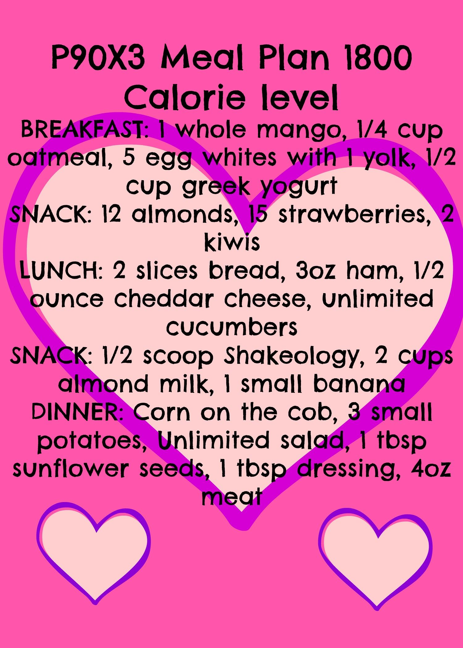 Plan B, 1800 Calorie Level Meal Plan for P90X3 | Getn right