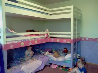 Girls' Double Triple Bunk Beds-I NEED to have this many kids!  How awesome! :)