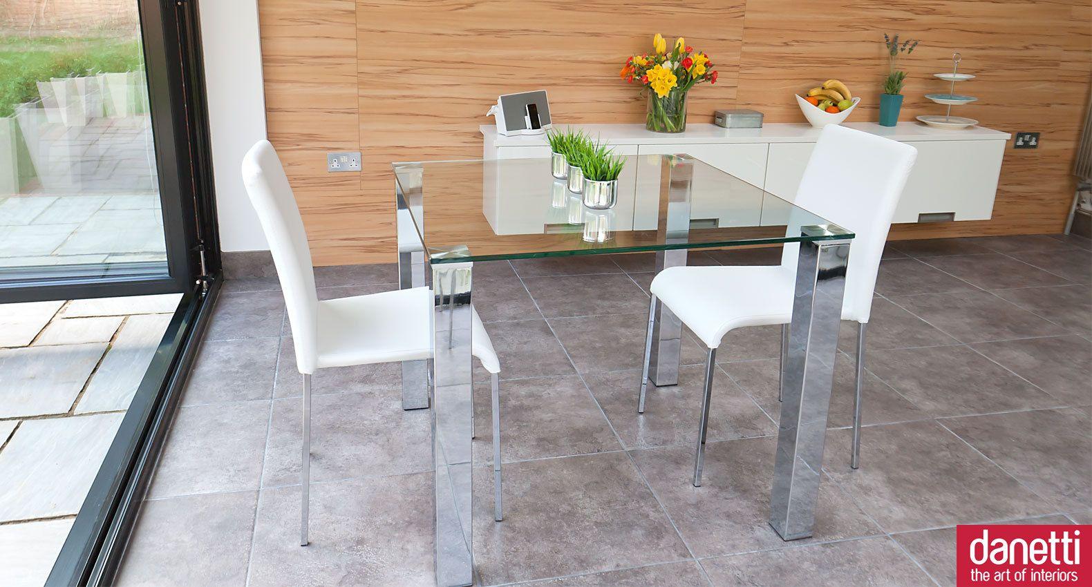 A Modern Small Gl Dining Set