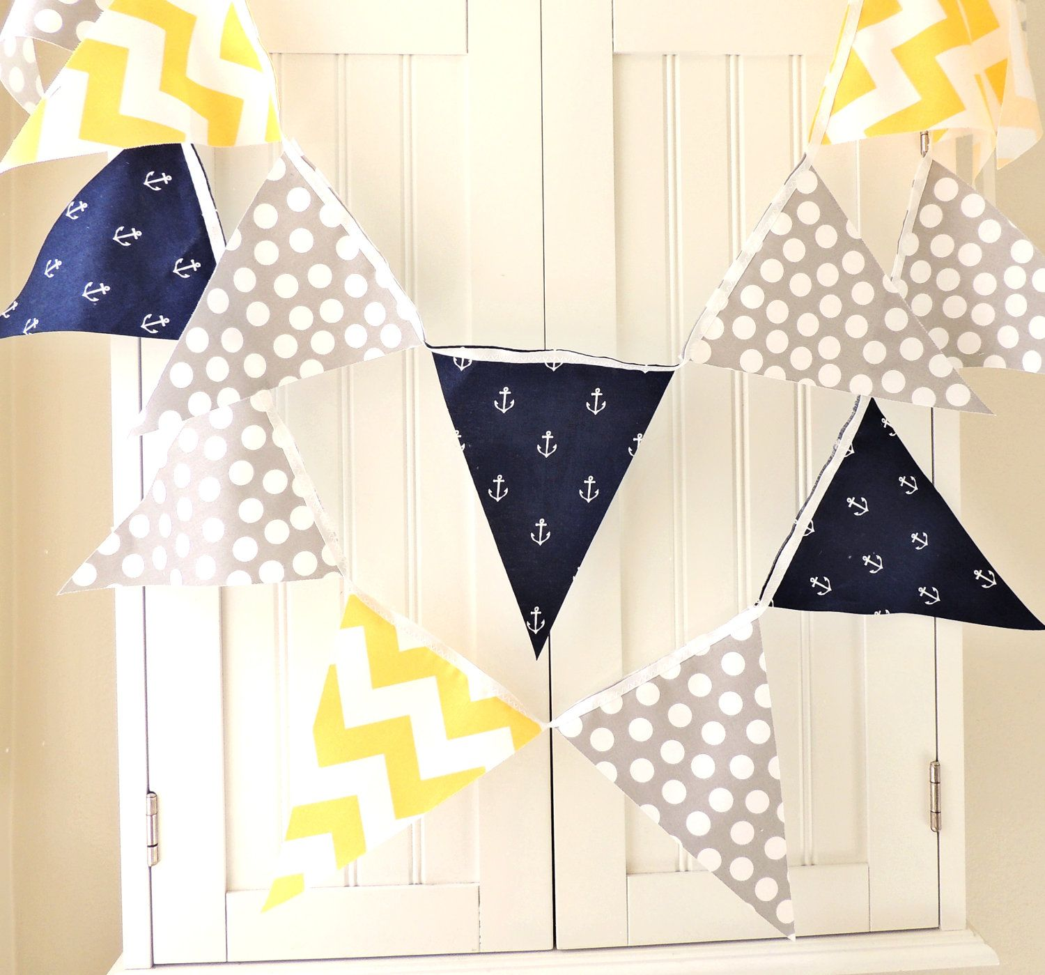 flag fabric bunting feet party banner nautical navy blue