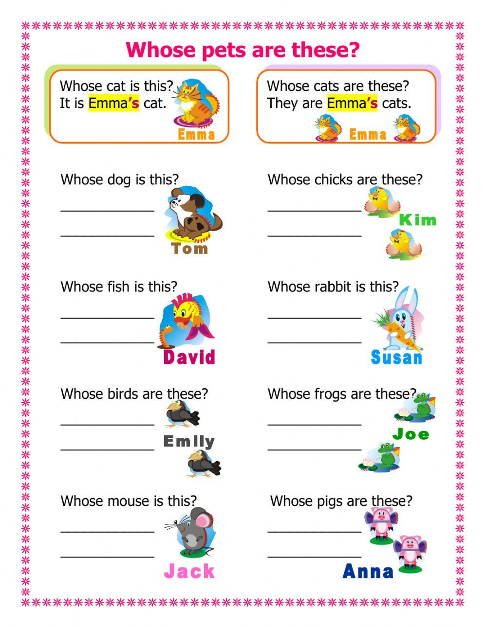 Whose pets are these? - Interactive worksheet   Possessive nouns worksheets [ 1291 x 1000 Pixel ]