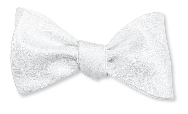 White Paisley Bow Tie B4216 Silk Bow Ties White Bow Tie Bows